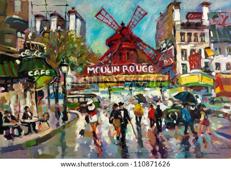 Original oil painting of Moulin Rouge cabaret in Paris.Retro look.Modern Impressionism - stock photo