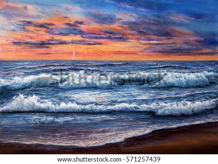Original oil painting of  Ocean and beach on canvas.Rich golden  Sunset over ocean.Modern Impressionism