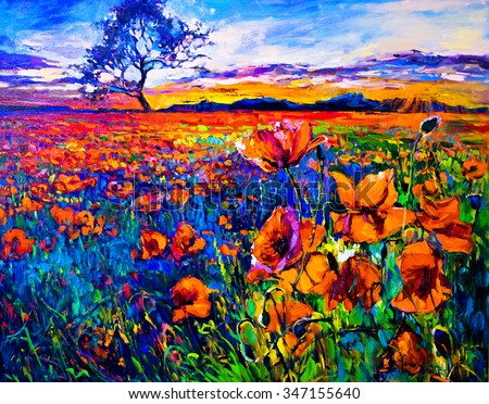 Original Oil Painting of Poppy Field on Canvas, Modern Impressionism