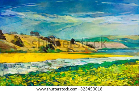 Original oil painting of  river coast and cliffs on canvas.Mountain landscape.Modern Impressionism