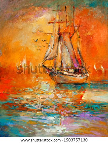 Original oil painting of sail ship and sea on canvas.Golden Sunset over ocean.Modern Impressionism