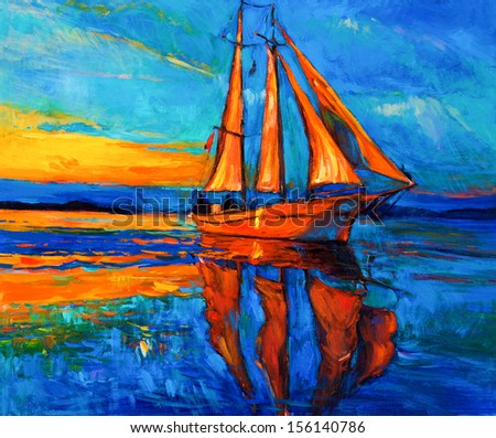 Original oil painting of sail ship and sea on canvas.Sunset over ocean.Modern Impressionism