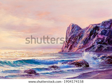 Original oil painting of  sea and beach on canvas.Rich golden  Sunset over sea.Modern Impressionism.