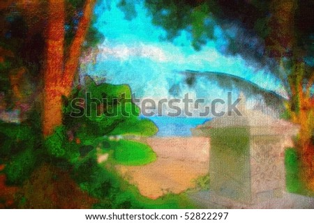 original oil painting of thailand beach palm trees and jungle
