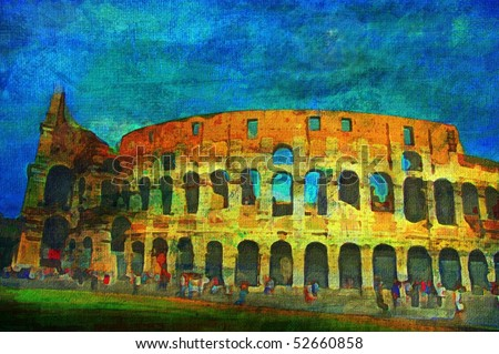 original oil painting of the roman colosseum