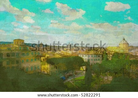 original oil painting of the roman forum and palantine hill area