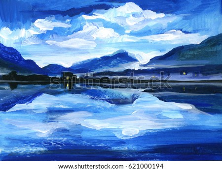 Original Oil Painting of the twilight on mountain lake. Altai