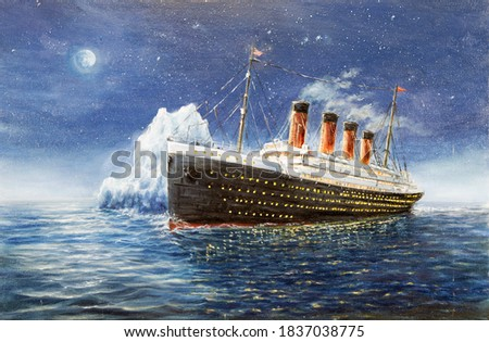Original oil painting of Titanic and iceberg in ocean at night on canvas.Full moon and stars.Modern Impressionism