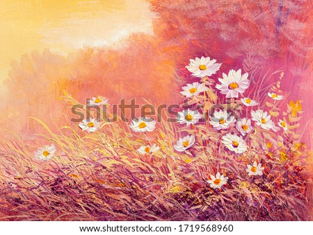 Original oil painting of white daisies , beautiful field flowers  in the forest. Modern Impressionism.