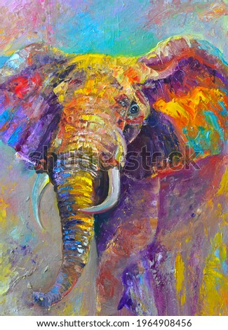 Original oil painting on canvas. Abstract, multicolored elephant. Convex strokes. Сток-фото ©