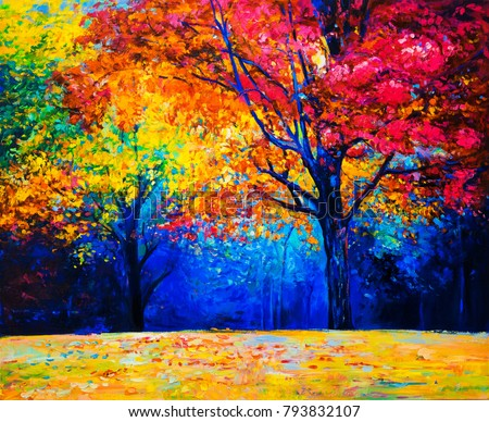 Original oil painting on canvas. Autumn trees. Modern impressionism.