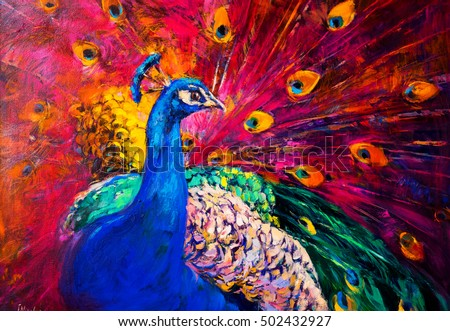 Original oil painting on canvas. Beautiful multicolored peacock. Modern art.