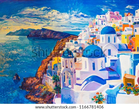 Original oil painting on canvas. Beautiful view from Santorini. Modern art.
