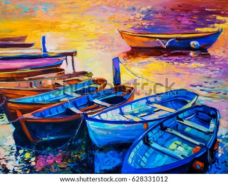 Original Oil Painting on canvas. Boats by a dock. Fine art.Modern Impressionism.