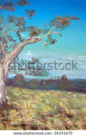 original oil painting on canvas for giclee, background or concept. australian gum tree landscape