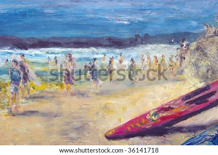 original oil painting on canvas for giclee, background or concept . beach scene on sandy strip with walkers