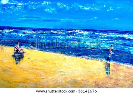 Background or concept beach scene with mother and child stock photo