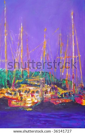 original oil painting on canvas for giclee, background or concept boats harbor scene - stock photo