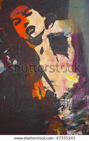 original oil painting on canvas for giclee, background or concept.pop portrait of womans face in dance - stock photo