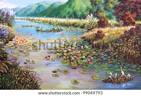 original oil painting on canvas - landscape of lotus swamp