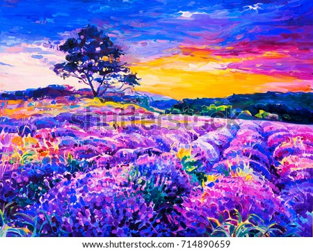 Original oil Painting on canvas. Lavender field with a tree. Modern art.