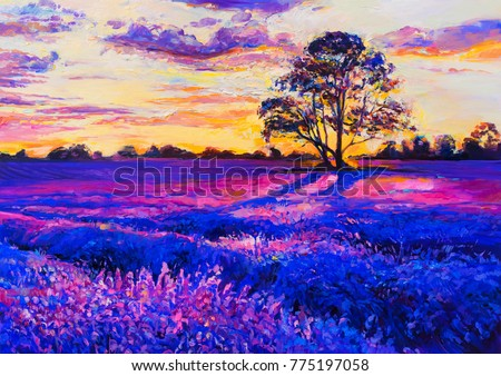 Original oil painting on canvas. Lavender landscape. Modern art.