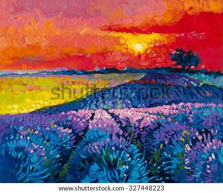 Original oil painting on canvas.Modern art.Beautiful lavender field at sunset