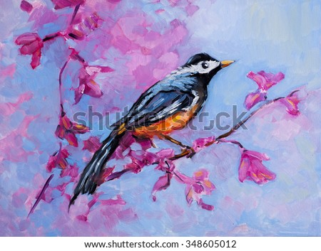 Original oil painting on canvas.Modern art.Modern painting of a bird