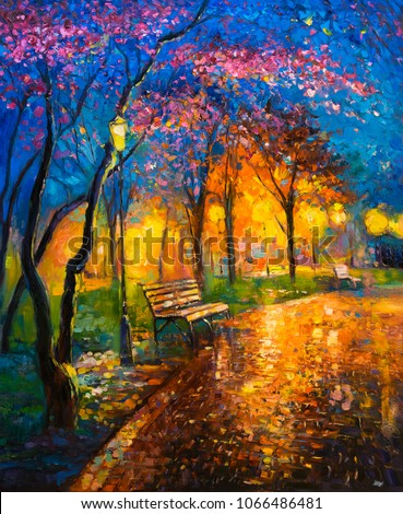 Original oil painting on canvas of colorful autumn landscape. Modern impersionism