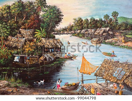 Original oil painting on canvas - picture of waterside life
