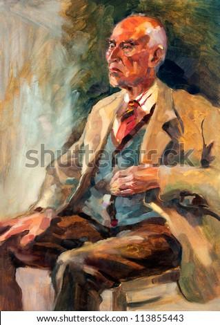 Original oil painting on canvas.Portrait showing a senior man  sitting.Modern Impressionism
