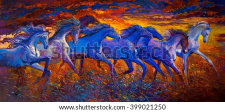 Original oil painting on canvas. Running horses-Modern impressionism