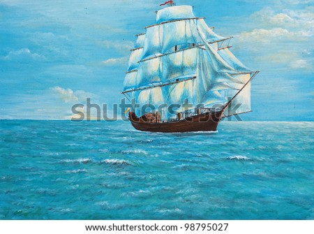 original oil painting on canvas - sailing ship in the ocean