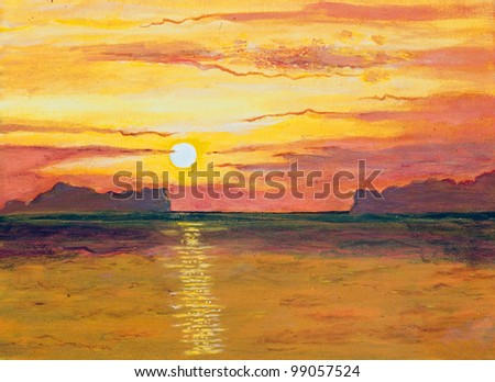 Original oil painting on canvas - sunset in the ocean