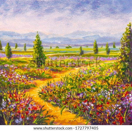 Original oil painting Road in flower field, beautiful summer wildflowers, trees and mountains on canvas. Modern Impressionism artwork.