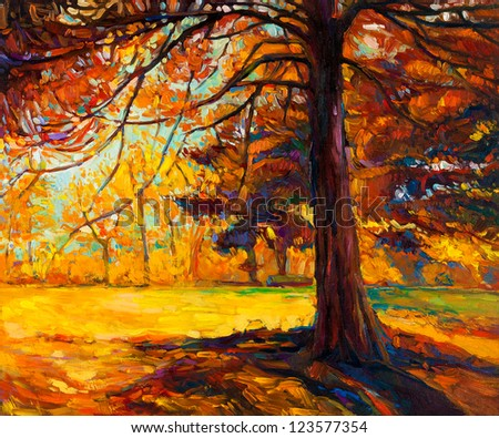 Original oil painting showing beautiful autumn landscape.Big old tree in the forest. Modern Impressionism