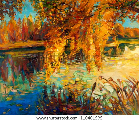 Original oil painting showing beautiful lake,sunset landscape.Autumn forest and sky. Modern Impressionism
