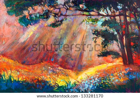 Original oil painting showing beautiful sunset landscape.Autumn forest and sky. Modern Impressionism