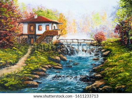 Original oil painting showing traditional Bulgarian house and river in the mountains on canvas. Modern Impressionism, modernism,marinism