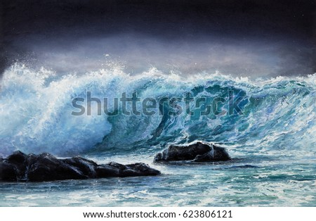 Original oil painting showing waves in  ocean or sea on canvas. Modern Impressionism, modernism,marinism