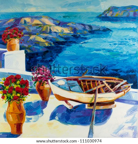 Original oil painting showing  white houses and flowers of Oia village at Santorini island with sea view. Greece.Modern Impressionism