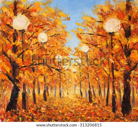 Original oil painting street strewn with yellow leaves. Trees in autumn with streetlight on canvas. Impasto artwork. Impressionism art.
