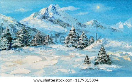 Original oil painting, winter mountain landscape with spruce