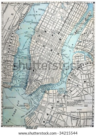 Original old street map of New York City, dated 1889.