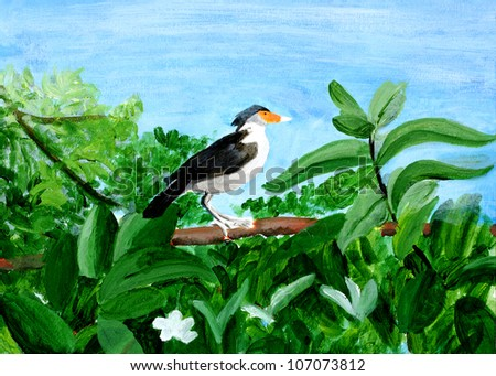 Original painting of a beautiful Myna on a tree, a child art