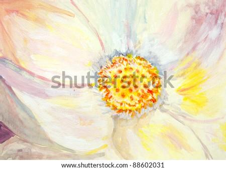 Original painting of a closeup of a lotus flower, a child art