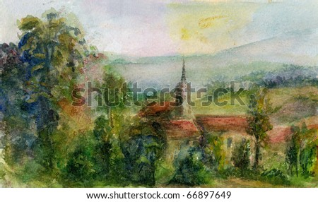 Original Painting, View of a Spanish Landscape with Red Tiled Buildings, a Church, Trees and Hills.