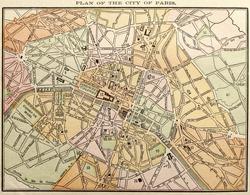 Original Paris city map, colored, dated 1889.
