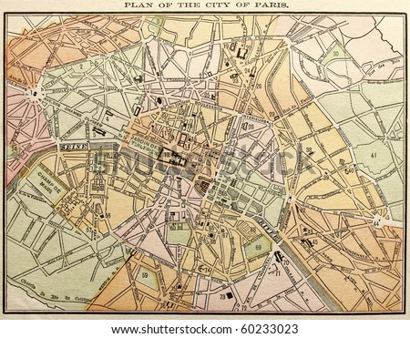 Original Paris city map, colored, dated 1889.