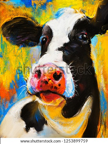 Original pastel painting. Cow portrait.  Modern art.